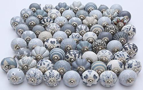 Handwerk India Türknauf für Schrank, Schublade, Schrank, Türknauf, Keramik, Grau/Weiß, 10 Stück (Handwerk Schubladen Weiß)