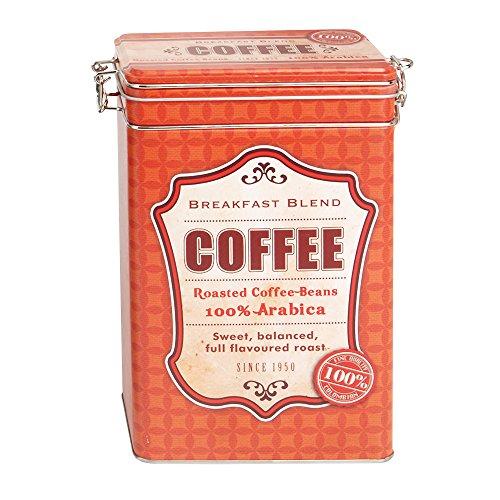 Kaffeedose aus Metall 12 x 8 x 19 cm, Motiv Coffee, rot