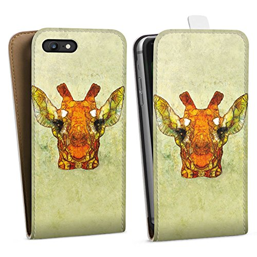 Apple iPhone X Silikon Hülle Case Schutzhülle Giraffe Muster Wasserfarbe Downflip Tasche weiß