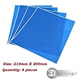 #9: 3D printer Blue masking tape/ heated bed Blue High temperature tape 200mm x 210mm with Rubber Adhesive (Quantity: 4 pcs)