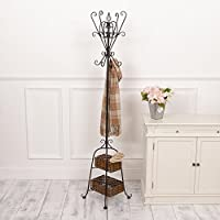 Dibor Black Wrought Iron Coat Stand Two Lower Wicker Storage Baskets. Perfect Storing Coats, Jackets, Cardigans, Scarves, Hats, etc. H 173 x W 35 cm