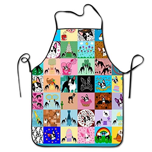 (HiExotic Eco-Friendly Crazy Faux Boston Terrier Adjustable Bib Apron Waterdrop Resistant Cooking Kitchen Aprons for Women Men Chef)