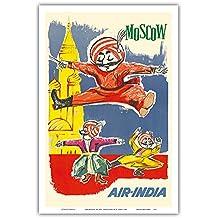 Moskau, Russland - Air India Maskottchen Maharaja - Barynya Russischer Volkstanz - Vintage Retro Fluggesellschaft Reise Plakat von J. B. Cowasji c.1960 - Kunstdruck - 31cm x 46cm