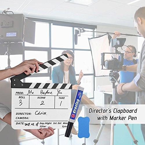 Leslaur Professionelle Acryl Clapboard trocken löschen TV Film Film Director geschnitten Aktion Szene Clapper Board Schiefer mit Marker Pen Eraser