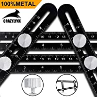 Multi Angle Measuring Ruler Template Tool - CrazyLynX Premium Aluminum Alloy Easy Angle Ruler, Precise Angle Ruler with Free Protective Pouch, Great Gift for DIY Handymen Builders Carpenters Tilers