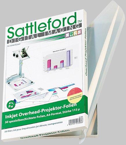 Sattleford Transparentpapier: 50 Inkjet-Overhead-Folien, DIN A4, transparent (Overheadfolie Tintenstrahldrucker)