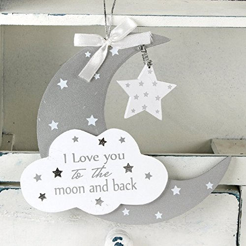 Baby Sentiment Hanging Plaque Love You To The Moon and Back