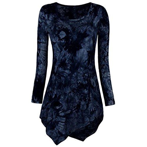 Damen Langarmshirt Bluse Oberteile Elegant Oversize Tops Shirt Sweatshirt Frühling Sommer (44(Etikettengröße 2XL), Blau)