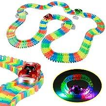 Piste variable flexible Glow Race Track y compris 2 voitures LED pour les garçons Filles de 3 ans et plus