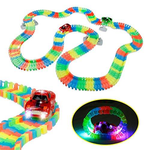 Autobahn Kinder | Rennwagen mit 5 LED | Kinder Leucht Autobahn | Autobahn Set Spielzeug | Glow Tracks Racing Set für ab 3 - 6 - 9 Jahre (Rennwagen Kinder)