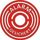 5er Aufkleber-Set Alarm-gesichert I Hin_067 I Ø 4 cm I Achtung Gebäude, Objekt besitzt Alarmanlage I für Fenster-Scheibe und Tür I innenklebend