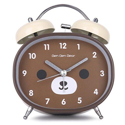 Doppelglockenwecker mit Nachtlicht, Oval Zifferblatt Niedlicher Bär Analog Quarzwecker mit lautem Alarm, Kinderwecker ohne Ticken, Nostalgischer Braun Glockenwecker von BLF