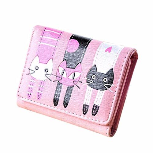 Purse Goosun Frau Katze Muster Münze Geldbörse Mit Metall Verschlussart Kurze Brieftasche Kartenhalter Handtasche Damen Portemonnaie Minibörse Minigeldbörse Münzbeutel Geldsäckchen (1 PCS, Rosa)