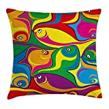 KAKICS Cartoon Decor Throw Pillow Cushion Cover, Fish Pattern in Mixed Fluid Vibrant Colors Childish Funny Comic Kids Nursery Theme, Decorative Square Accent Pillow Case, 18 X 18 inches, Multi