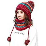 Yvelands Vente De Liquidation l'hiver Madame ÉPaissir Protection Auditive Bavoir Costume Bonnet Tricoté Casquette De Ski Bonnets Hats Chapeaux (Rouge,One Size)