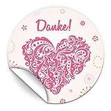 JuNa-Experten 100 Aufkleber Danke für Geschenktüten / Bei Hochzeit Geburtstag / liebevolle Sticker für Verpackung der Gastgeschenke Herz Rosa Nr. 16