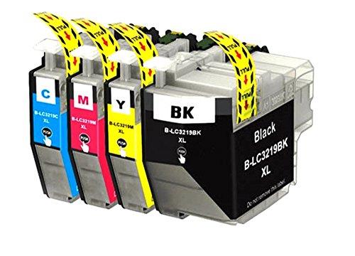 Preisvergleich Produktbild EasyInk 4er Set Druckerpatronen kompatibel zu Brother LC-3219XL LC-3217XL (1 Schwarz, 1 Cyan, 1 Magenta, 1 Yellow)