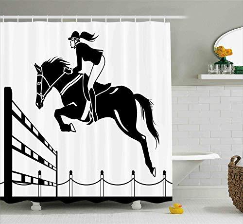 Cartoon Duschvorhang Racing Pferd mit einem Jockey Mädchen Springen über Barrier Barn Farming Print Tuch Stoff Badezimmer Dekor Set mitweiß grau -