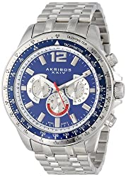 Akribos XXIV Mens AK653BU Grandiose Swiss Multifunction Blue Dial Silver-tone Stainless Steel Bracelet Watch