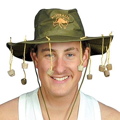 German Trendseller® Australischer - Hut - Dschungel - Camper - Deluxe ┃ inkl. Korken ┃ Busch Hut ┃ Camp ┃ Korkenzieher Hut (Kork Hut Kostüm)