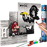murando - Malen nach Zahlen - Banksy Mario & Home & Affe 180x40 cm - Malset mit 3 Motiven - Design Geschenk-Tube - DIY - Für Erwachsene und ambitionierte Kinder ab 12 - Perfekt für Hobbymaler n-A-0352-ab-e