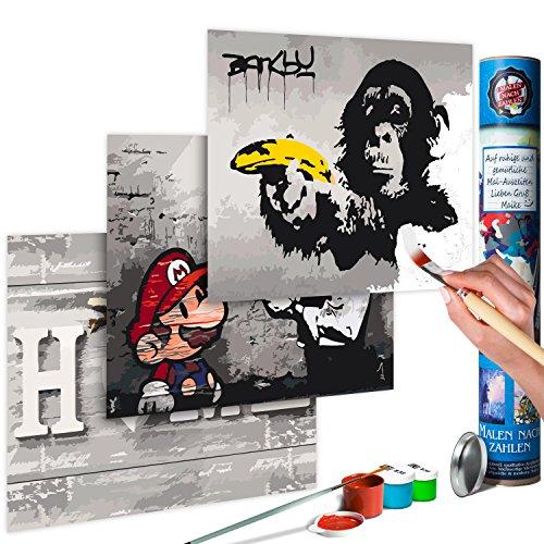 murando Malen nach Zahlen Banksy Mario & Home & AFFE 180x40 cm Malset mit 3 Motiven - Design Geschenk-Tube DIY Für Erwachsene und ambitionierte Kinder ab 12 - Perfekt für Hobbymaler n-A-0352-ab-e