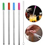 TITAP Reusable 9.00inches Long Stainless Steel Metal Cold Drink Drinking Straws 4 Pcs Straight With 1Pc Cleaning Brush Set (Silver)