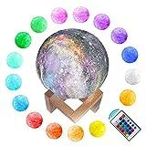 Mond Lampe, Yurnero Sternenhimmel Nachtlicht 3D Universum szene Mondlicht 16 Farben Fernbedienung USB-Lade Dimmable Home Dekorative Mondlampe für Kinder Liebhaber Geburtstag Weihnachtsgeschenke
