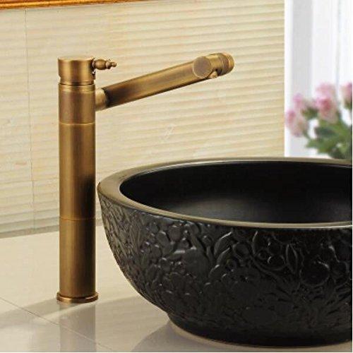 Decorry Antik Kupfer Waschbecken mit warmen und kaltem Wasser Hahn 360 Grad drehbaren Waschbecken, Waschbecken, Waschbecken, hoher Kopf Keramikscheibe Schieber.