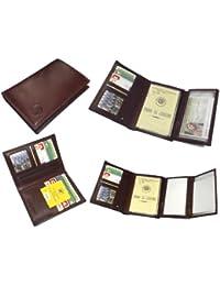 porte feuille cuir vachette permis billet monnaie carte marron - éléphant d'or