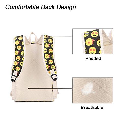 Rucksack Damen, FEWOFJ Schulrucksäcke Canvas Mädchen Rucksäcke Sport Freizeitrucksack für Jugendlich Schule Schüler - Emoji Emoji