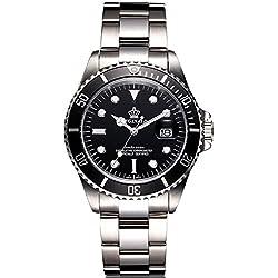 REGINALD® Men's Luminous Watch Rotatable Bezel Sapphire Glass Black Dial Stainless Steel Quartz Watch