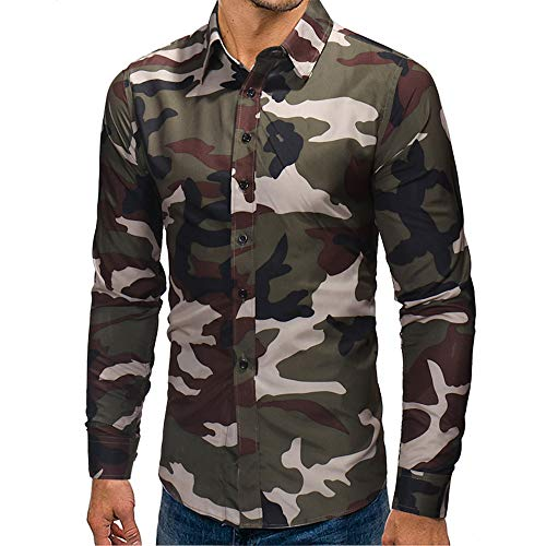 Makefortune Herren weichen langärmeligen Designer Button up Shirt Tops Blusen mit Camouflage Print für den Herbst Winter
