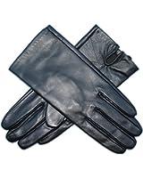 Jasmine Silk Ladies Luxury Genuine Lambskin Leather Silk Lined Gloves BLACK