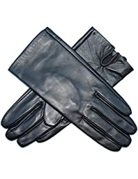 Jasmine Silk Ladies Luxury Genuine Lambskin Leather Silk Lined Gloves BLACK