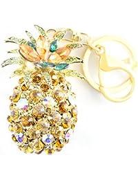 quadiva Bag Charm Pineapple Funda colgante para mujer (Color: Oro/naranja/verde) con cristales