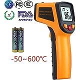 Ketotek Thermomètre infrarouge sans contact numérique à point laser Pistolet -50°C - 600°C (-58-1112°F) Thermomètre IR de qualité alimentaire professionnel testeur de température