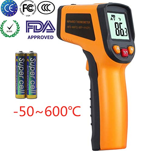 KETOTEK Pistola Termómetro Infrarrojos Laser Digital Termómetro Pistola FDA Infrared Thermometer -50 ℃ - 600 (-58-1112) Sin contacto Punto Termometros Pistola Termómetro (Amarillo)