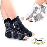 (2 Paar)Kompressionssocken Fußgelenkbandage für Damen und Herren, Hibucuoo Fersensporn Bandage, Fußbandage, Kompressionsstrümpfe für effecktiv kompression beim Laufen & Sport