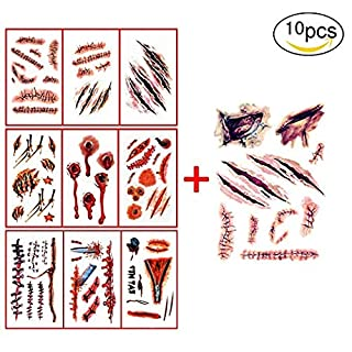 Tattoo Sticker for Halloween,10pcs Horror Realistic Fake Bloody Wound Stitch Scar Scab,Waterproof Sticker,Masquerade Prank Makeup Props