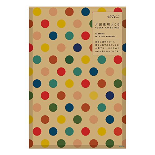 Midori Oneside Transparent Gift Bag M Size 12 sheets - Multi Dot