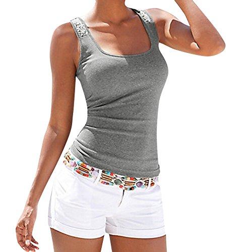 iHENGH Damen Sommer Top Bluse Bequem Lässig Mode T-Shirt Blusen Frauen Plus Größe Sleeveless Sequin Weste übersteigt Sommer Damen beiläufiges Blusen T-Shirt(Grau, S) (Knit Jacquard Top)