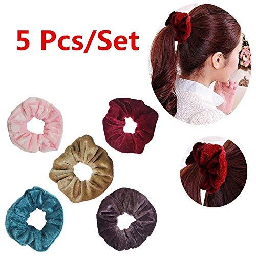 40/46 Stück Samt Haargummis Elastische Haarbänder Haarklemmen Traceless Samt Haar Ring Halter Haarschmuck Seile Haargummi für Mädchen (5PC) -