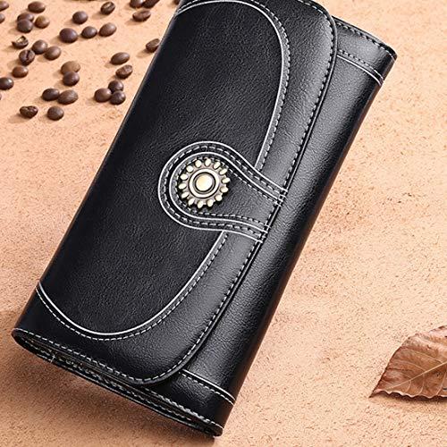Yajiemei Frauen RFID Sperrung Große Kapazität Wachs PU Leder Lange Clutch Wallet Card Holder Organizer (Color : Midnight Black)