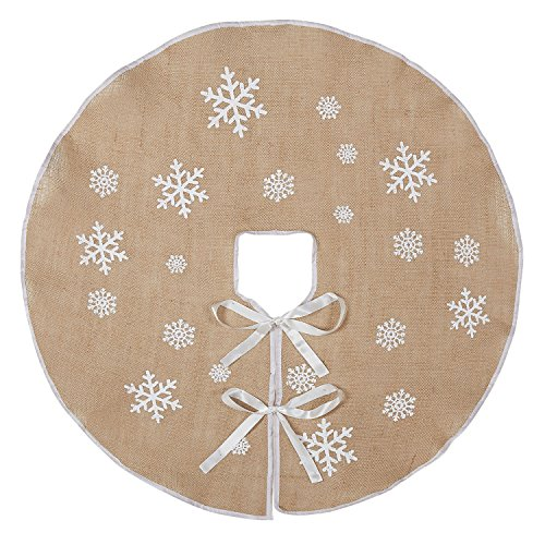 MACTING Countryside Burlap Tree Skirt 30 Inch White Snowflake Printed Xmas Holiday Decorations Indoor Outdoor