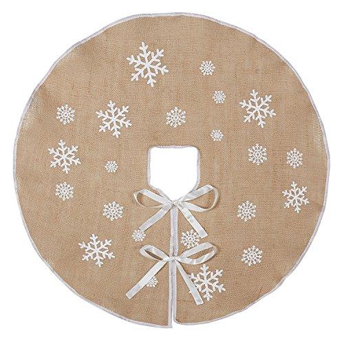 Pie de árbol de la marca Marry Acting de arpillera, falda de 30cm, con estampado de copos de nieve blancos, para decoración interior y exterior