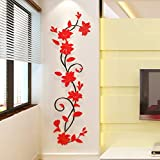Amovible Acrylique 3D Fleur Design Sticker Mural Salon TV Fond Stickers Muraux...