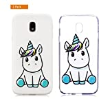 E-Flamingo [2 Pack] Samsung Galaxy J5 2017 Hülle Case Weißes Klares Einhorn Handyhülle Softe Flexibel Silikon TPU Klar Transparent Stoßfest Back Cover Kreativ Design Schutzhülle