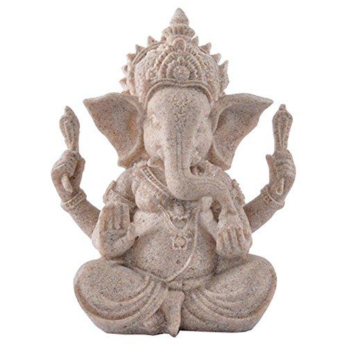 Muzuri FENGSHUI Hindu Gott Idol Elefant Buddha Statue Skulptur Handgefertigt Sandstein Ganesha Buddha Figur Home Dekoration, Stein, grau, 5inch