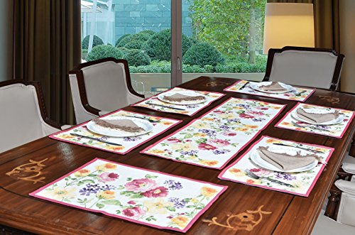 Avira Home Polycotton Rose Garden Table Mats And Table Runner Set, 6...